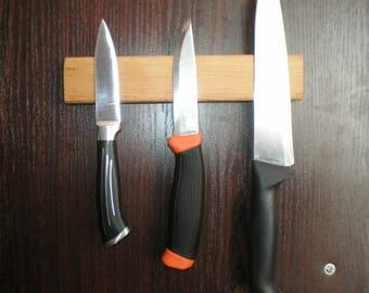 magnetic knife holder knife rack custom engraved wall mounted wooden knife storage hardwood tools organizer - Knife Storage