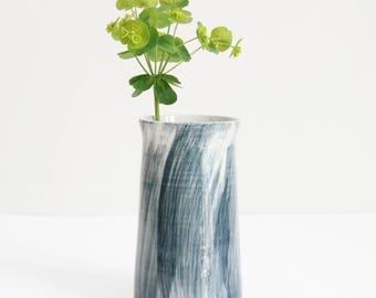 dark petrol blue brushed vase, medium, pot, handmade, wheel thrown, ceramic, pottery, glazed