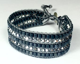 Silver Swarovski Cuff Bracelet and Miyuki anthracite Matt gunmetal