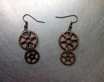 Steampunk Copper Gears Metal Ear Rings
