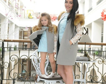 Mother daughter matching vests, Cashmere vests with faux fur, Belted matching jackets with fur, Mommy and me outfit, Mom daughter outerwear
