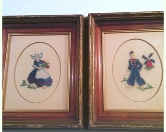 Vintage Pair of Dutch Petit Point Embroidered Framed Wall Art