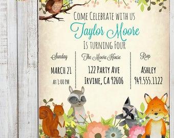 Woodland Floral Animal Birthday Party Invitation ~Digital File