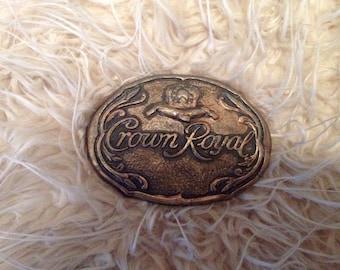 Vintage Brass Crown Royal Belt Buckle