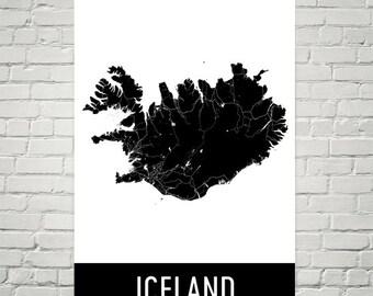 Iceland Map, Iceland Art, Iceland Print, Iceland Poster, Iceland Wall Art, Iceland Gift, Map of Iceland, Iceland Decor, Modern, Art