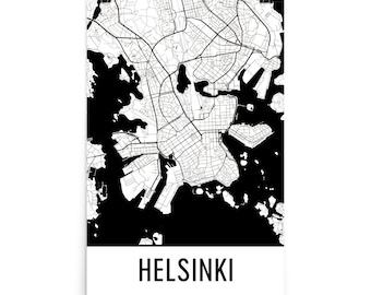 Helsinki Map, Helsinki Art, Helsinki Print, Helsinki Finland Poster, Helsinki Wall Art, Map of Helsinki, Helsinki Poster, Helsinki Gift