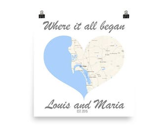 Where it All Began, Heart Map Art, Wife Gift, Husband Gift, Unique Wedding Gift, Gift for Couple, Anniversary Gift, Personalized Engagement