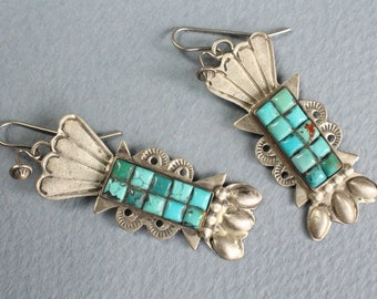 Turquoise Earrings Green Blue Sterling Silver Navajo Indian Native American Corn Row