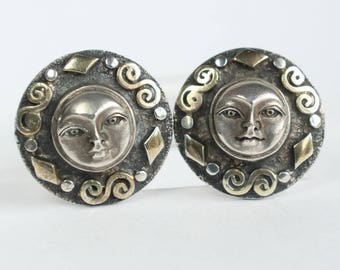 Sun Moon Face Earrings Sterling Silver Mystical Madness Silver Face