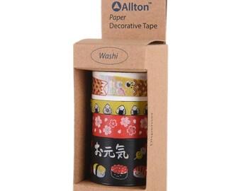 Japan Washi Tape with Dispenser 5m 4/Pkg - Allton