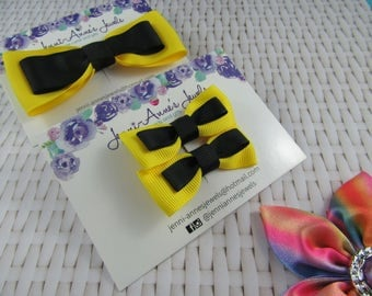 Yellow/Black Large and Small Bow Tie Clip Set