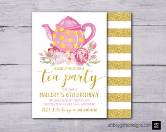 Printable Birthday Tea Party Invites, Tea Party Birthday Invitation, Birthday Tea Party, Teapot Kitchen Invitation, Pink and Gold Invitation