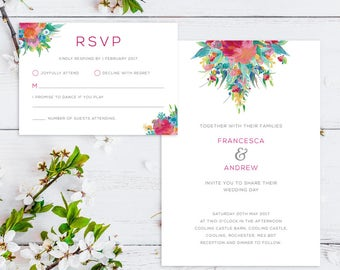 Printable Wedding Invitation/ RSVP/ Save the date/ Thankyou card/ PDF/ Download/ Custom/ Watercolour/ Floral/ Francesca suite #025