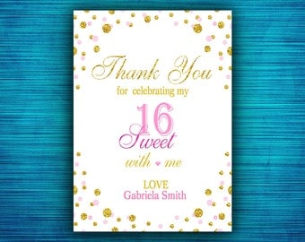 Sweet 16  Thank You Card-Gold Confetti - Pink and Gold Sweet 16  Thank You- Sweet Sixteen Thank You Card-Digital file