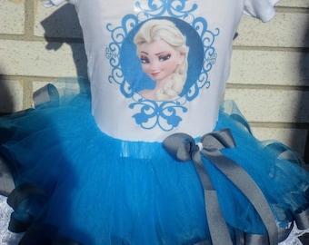 Elsa Lace Trimmed Tutu Outfit, Elsa, Lace Trimmed Tutu, Elsa Tutu, Frozen, Frozen Tutu, Frozen Tutu Outfit, Queen Elsa, Frozen Tutu Set