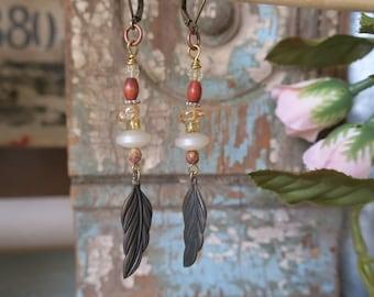 Hobo chic feather earrings