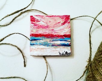 Mini Abstract Pink Blue Textured Waves Water Shore Sand Bright Beach Ocean Seascape Acrylic Painting Original-Boys. Girls. Beaches.