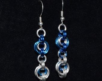 2 in 2 blue & silver dangle earrings