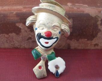 Vintage Metal Hand Painted Clown Brooch Marked
