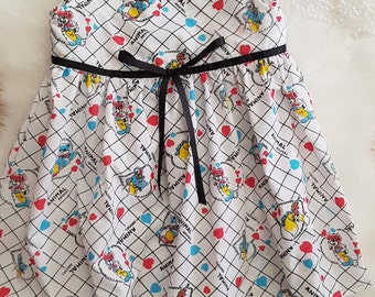 White cotton print dress size 4