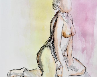 Color / Figure Painting / Original Watercolor / Naked Lady Art / Nude Drawing