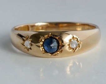 Antique 14 k Yellow Gold gypsy ring; Antique 15 ct gold Sapphire and two rose diamonds/gypsy ring: sapphire and rose diamonds