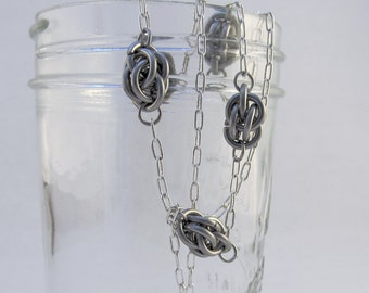 Stainless Steel Sweet Pea and Chains Necklace