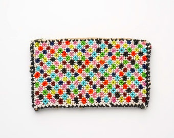 Vintage African beaded purse, beaded coin purse, beaded money purse, African beads, vintage purse, vintage coin purse, retro beaded purse