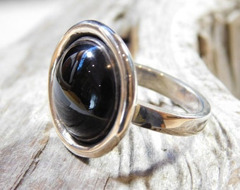 Large round black onyx ring sterling silver size 9 1/4
