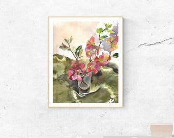 flower print, spring flower art, print flower, botanical print, watercolor print, flower in vase, watercolor flowers, botanical flower