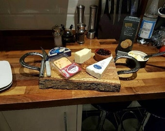 Tapas/Cheese Board with Horseshoe Handles and Bowl