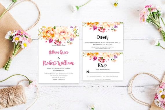 Floral wedding invite word_68,INSTANT DOWNLOAD, Editable Wedding template invitation. Microsoft Word template.Wedding Printable