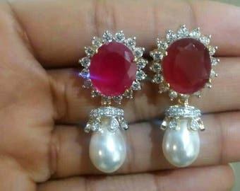 Red White Pearl Cz Earrings