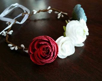 Red, White, and Blue Peony Flower Crown