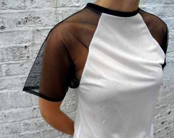 White Mesh Arm Raglan T-Shirt