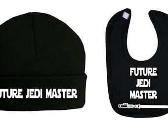 Future Jedi Master Star Wars Inspired Beanie Hat and Bib Set Baby Clothes Baby Bibs Baby Shower Gifts Baby Star wars new baby gifts bib hat