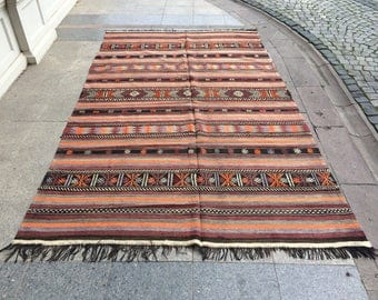 Turkish Handmade Kilim Rug,6'x10'feet,184x305cm,Turkish Anatolian Home Decor Kilim Rug