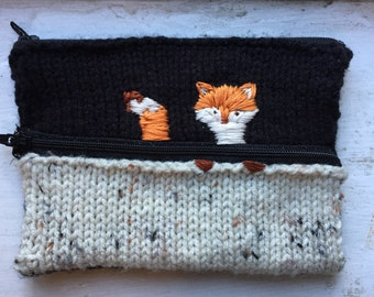 Peeping Fox: Hand Embroidered and Handmade Clutch