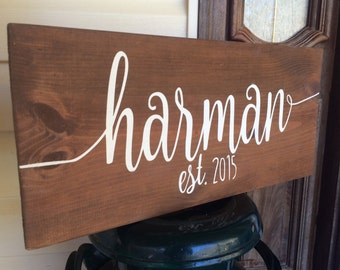 Last Name Sign Personalized Established Est Year Family Wooden Sign Home Decor Photo Prop Rustic Wedding Gift