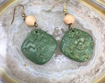 Green Etched Earrings
