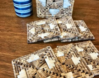 Woven Rattan Boho Aztec Coasters Set of 6 - In Vintage Box