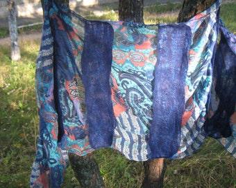 Nuno Felted scarf, felt scarf, felted ruffle scarf merino wool,  wool scarf, gift, blue scarf