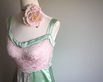 The Lana- Pink lace, green silk, art deco, 1930s, vintage style, nightgown.