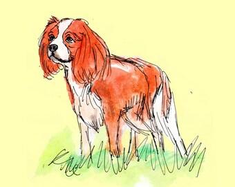 King Charles Spaniel Print - Childs Room Decor - Dog Nursery Art - Watercolor Art - Dog Art Print - Dog Print - Spaniel Art - Nursery Decor