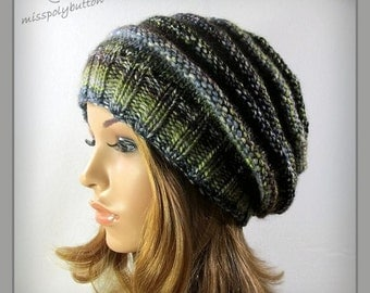 Slouchy knit hat - multicolored womens hand knit hat - adult hat - winter accessories