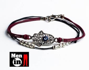 Men Hamsa Bracelet, Hamsa bracelet, Men Skinny Bracelet, Men evil eye bracelet, Men Double bracelet, Men Thin bracelet, Men Simple bracelet