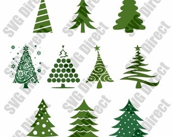 10 designs total of Christmas Trees - SVG cut file - use with Silhouette Studio & Cricut, Vector, Digital Cutting Cut Files