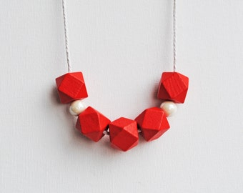 Geometric Necklace, Boho necklace, Statement Necklace, Bohemian Jewelry, Handmade necklace, Wooden Necklace, Red and White