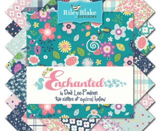 """New!  Riley Blake Enchanted Fabric Collection - 5"""" square stackers, 42 pieces total"""