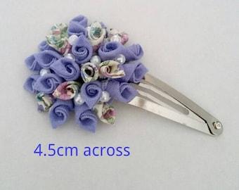 Blue Kanzashi rose hair clip-Japanese, hair clip, rose, flower clip